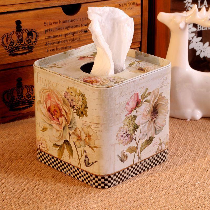 Zakka Boxes For Home Decor Paper Towel Box Tissue box Car Rose Leather Car Tissue Box Holder 12.5*12.5*12.5cm(China (Mainland))