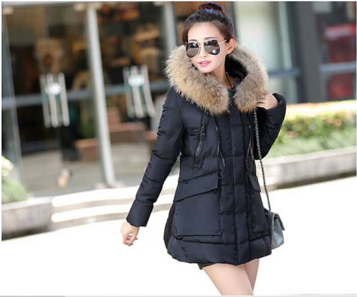 2015 new arrive pule size autumn winter women wide-waisted coat female collar jacket thick padded outwear Hooded black