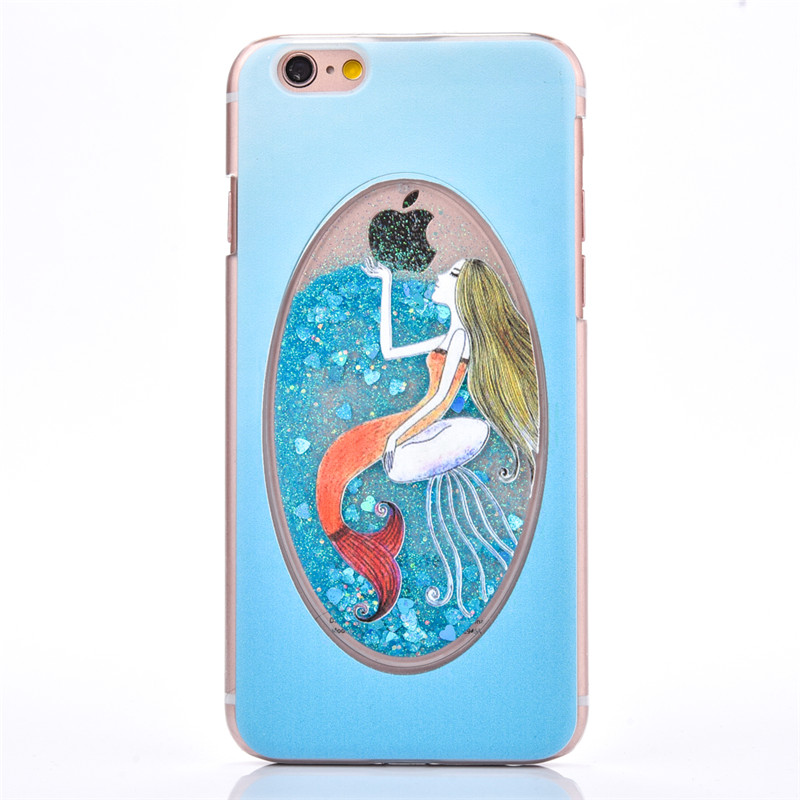 Dynamic Liquid Glitter Quicksand Mermaid pattern Blue Case For iphone 6 6S Crystal PC phone Back Cover for iPhone 6 plus shell(China (Mainland))