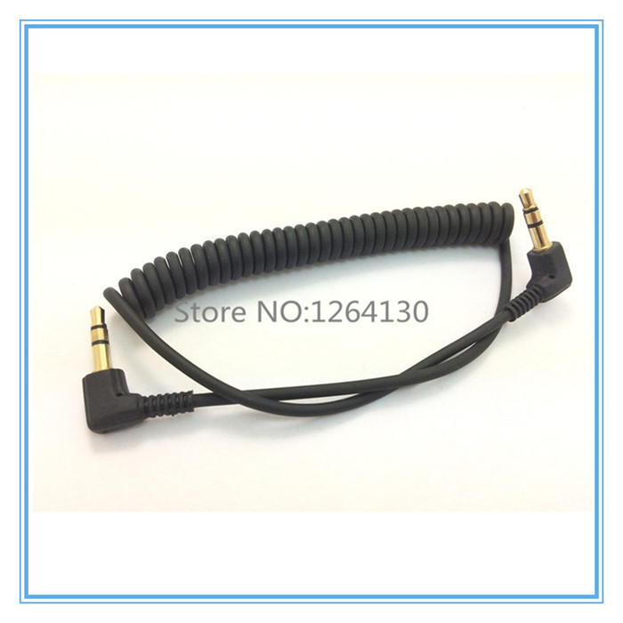 Spring Audio Cable Stereo 3.5mm Double bend 90 degree Male Audio Line Mp3 Mobile Phone to Car Aux Speaker Audio Wire(China (Mainland))