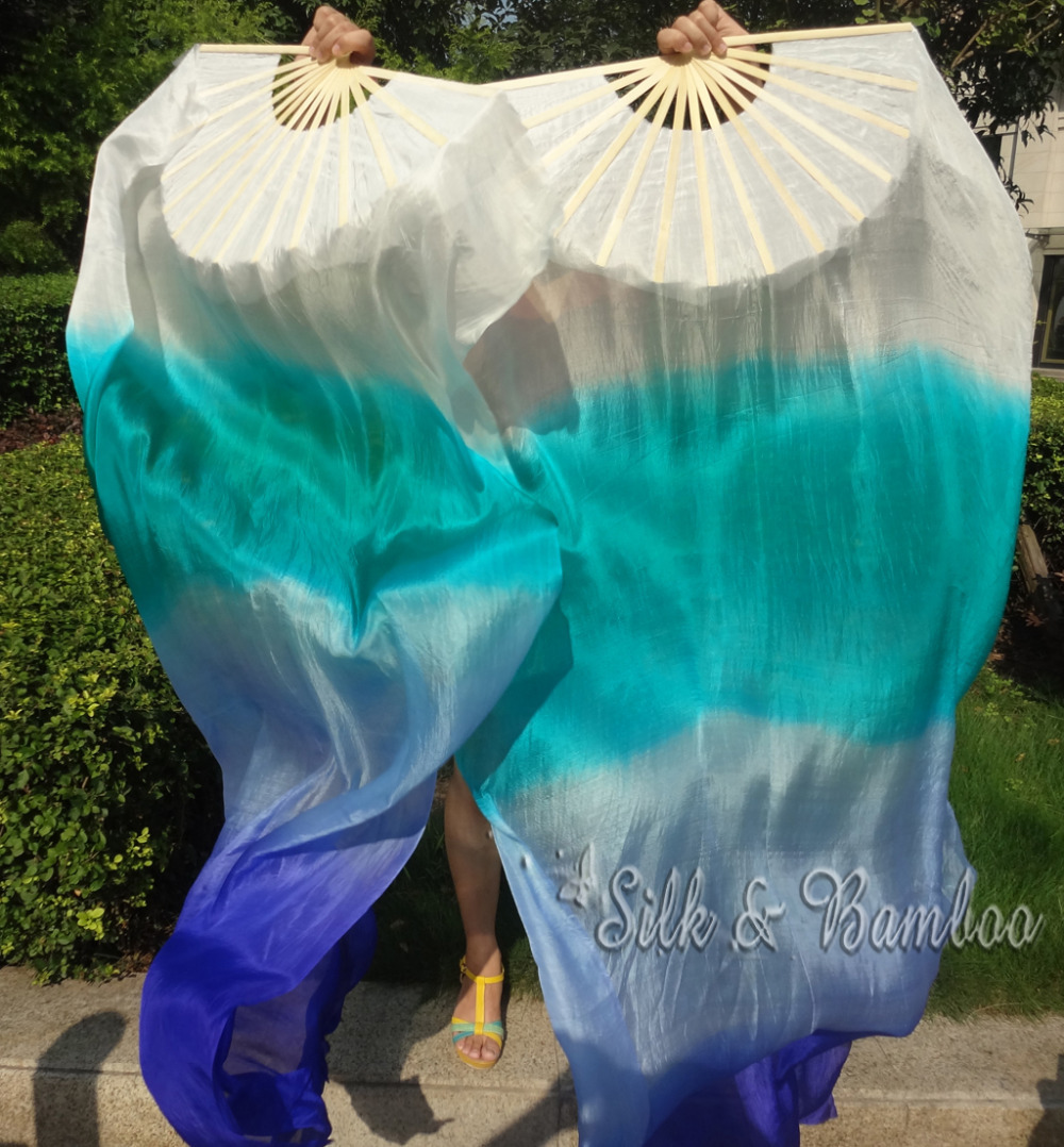 "white-peacock green-light blue-blue, 1 pair 1.8m*0.9m(71""*35"") hand painted belly dance silk fan veil, real flowy silk(China (Mainland))"