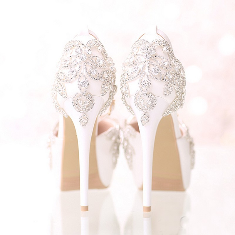 White Bridal Wedding Dress Shoes with Ankle Straps Round Toe Crystal Bride Shoes Platform Formal Dress Shoes Prom Party Pumps