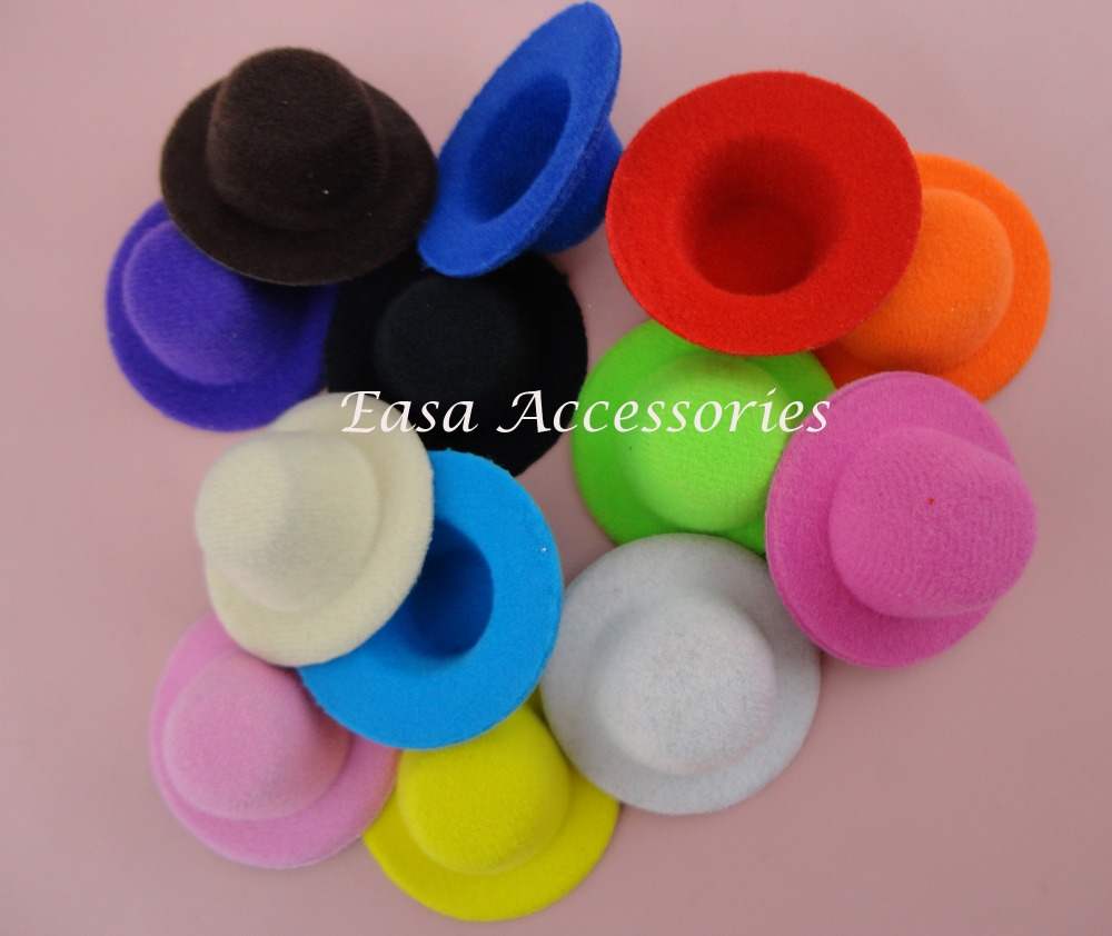 20PCS 5.5cm*2.5cm Mini Velvet Top Hat Hair accessories no clips back for DIY kids hair jewelry,baby boutique hair hat(China (Mainland))