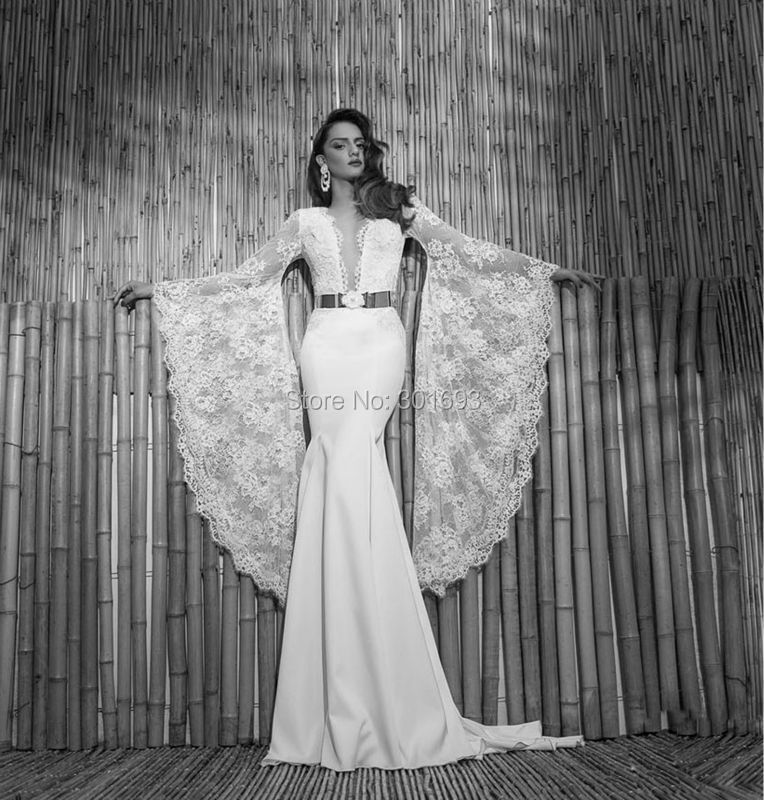 Popular wedding dress bell sleeves buy cheap wedding dress for Bell sleeve wedding dress