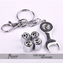 New Hot Sale Car Wheel Tire Valve Caps with Mini Wrench & Keychain for MAZDA (4-Piece/Pack)(China (Mainland))