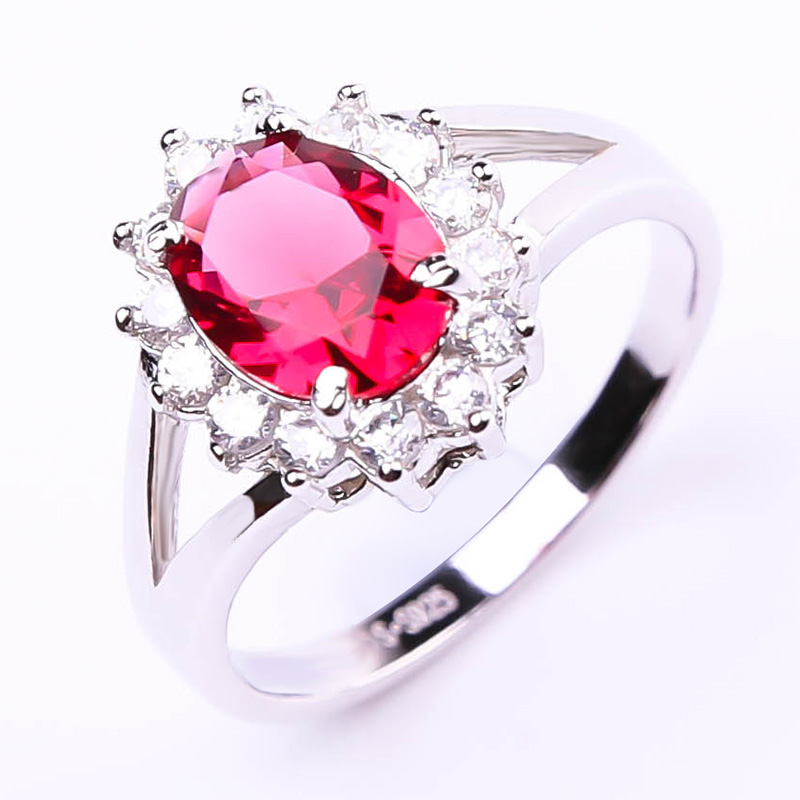 Luxury Princess Diana William Engagement Wedding 2.5ct Red Ruby Ring Set Solid 925 Sterling Silver(China (Mainland))