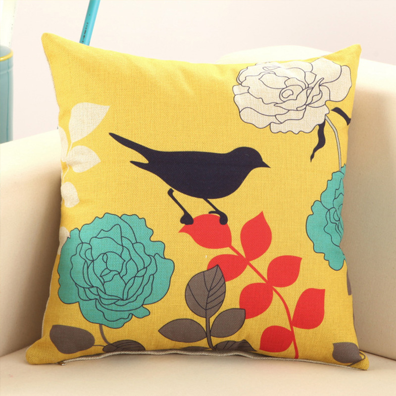 Enterhome Bird and Tree Cotton Linen Decorative Soft Cushion Cover Chair Beds Cute Pillow Case Square