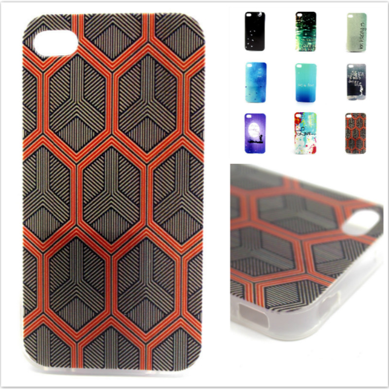 Hot Sale High Quality Fashion Ultra Thin Art Colorful Back Skin Cover TPU Soft Back Case For Apple iPhone 4G iPone 4 4S(China (Mainland))