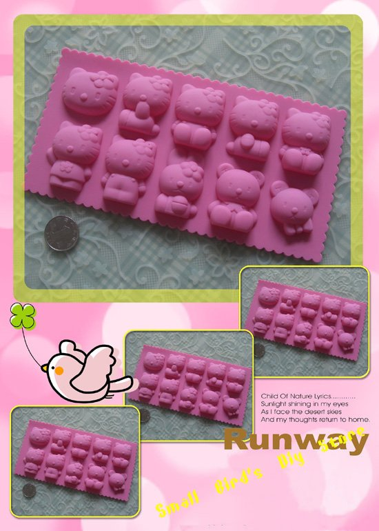 New!10pcs carton hello kitty cat bear rabbit silicone chocolate mould/ice /butter tray mold/cake decoration/promotinal gift(China (Mainland))