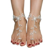 2016 New Silver Alloy Anklet Crochet Barefoot Sandals Nude Shoes Foot Decoration Anklet Beach Pool Yoga Beach Wear Anklet
