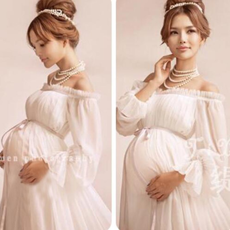 ZTOV-Royal-Style-White-Maternity-Lace-Dress-Pregnant-Photography-Props-Pregnancy-maternity-photo-shoot-long-dress