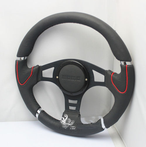 "13"" MOMO Steering Wheel Genuine Suede Leather Steering Wheel black Stitch Modified Racing Car Universal(China (Mainland))"