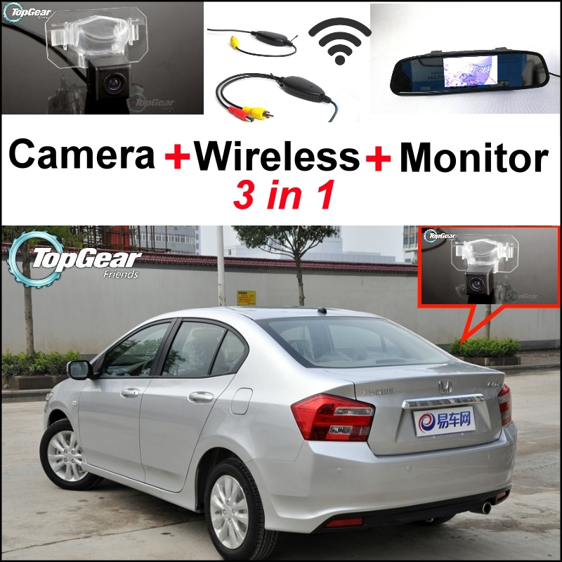 3 in1 Special Rear View Camera + Wireless Receiver + Mirror Monitor Easy Backup Parking System For HONDA City MK5 2007~2013<br><br>Aliexpress