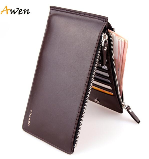 Awen hot sell luxury ultra-large capacity double zippers men wallets,ultra-thin leather wallets for men,fashion mens money clip(China (Mainland))