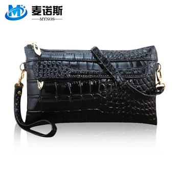 Лакированная кожа женщины сцепление мешок вручную мешок крокодиловая кожа дамы сцепление бумажник женщины портмоне один кроссбоди мешок