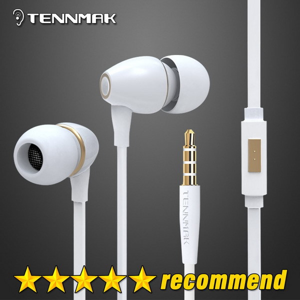 Tennmak Porcelain Gold 3.5mm In-ear Earphones High Quality Metal Headphone noise isolating Earbud for iPhone HTC Samsung MP3 MP4(China (Mainland))