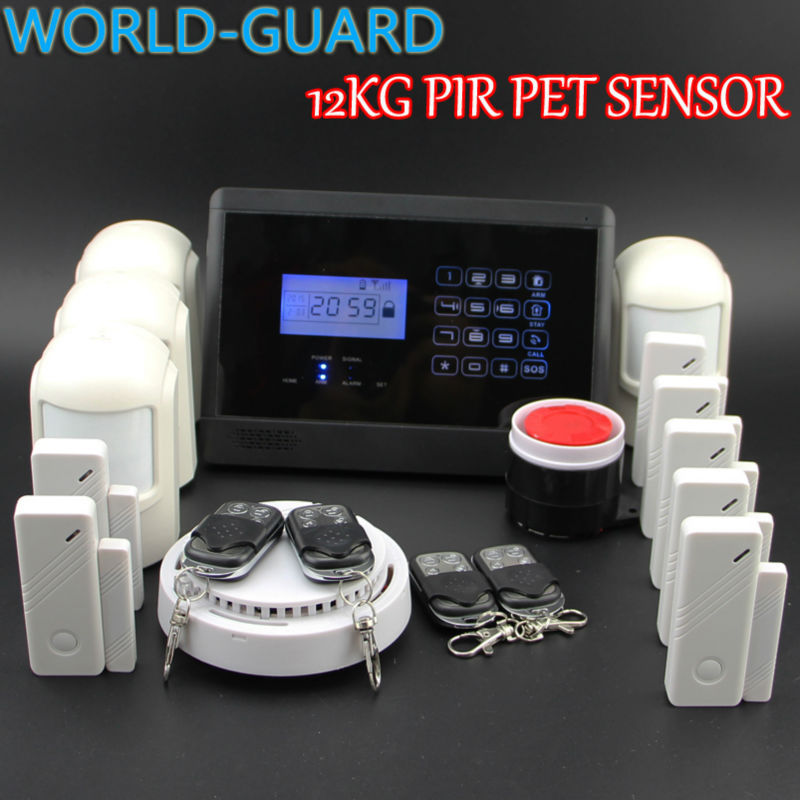 HOMSECURITY Touch Keypad Wireless GSM Home Security Alarm System Kit+4 pet Motion detector+7 Door Sensors<br><br>Aliexpress