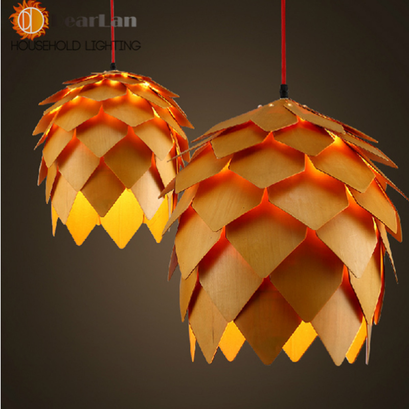 Modern wooden art pendant light e27 creative wood hanging lamps decoration light fixture for - Creative hanging lights ...
