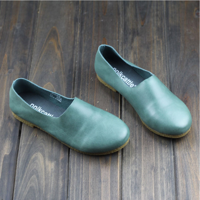 Flat Shoes Women Genuine Leather Slip On Shoes Green Brush off Leather Ballet Flat Vintage (1688-7)<br><br>Aliexpress