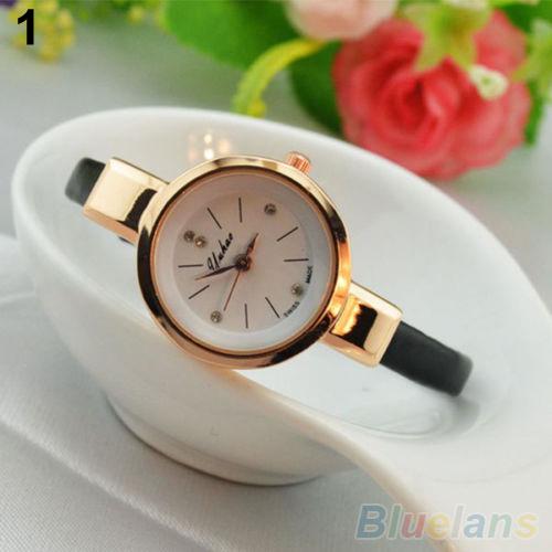 Women Ladies Candy Color Fashion Thin Leather Strap Quartz Bracelet Wrist Watch 2K8F