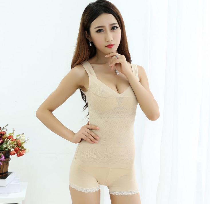 High-grade women bud silk condole belt vest female chest belly body shape underwear waist training body 3PCS(China (Mainland))
