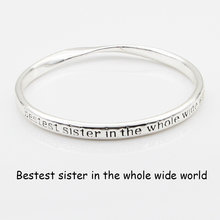 Silver Plated Charms Bangle Engraved Positive Messages Quote Cuff Bracelets Bangle For Women Inspirational Jewelry Gift(China)