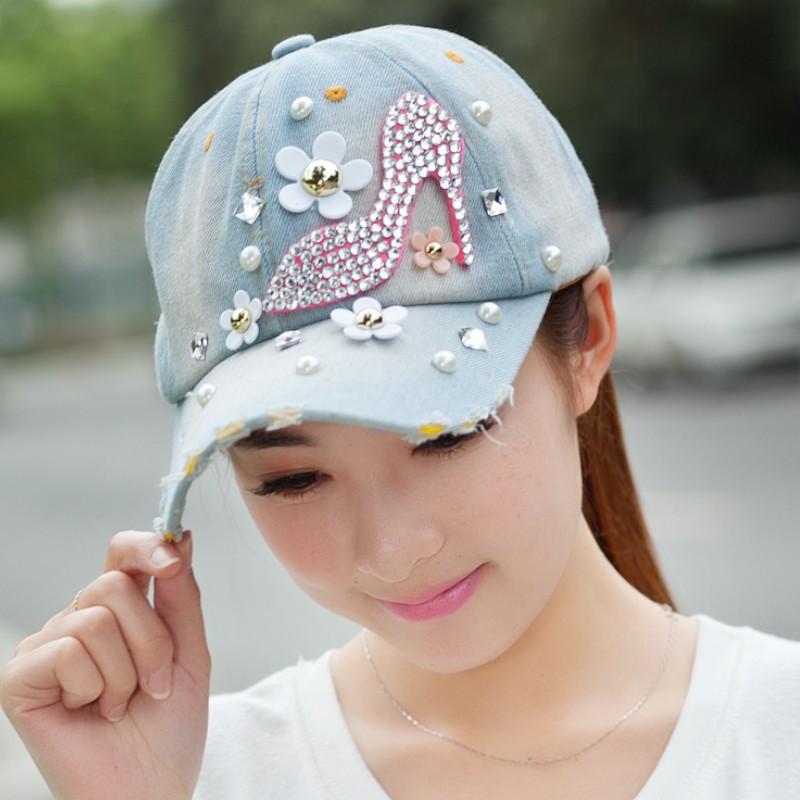 Women Fashion To Do The Old Craft Snapback Baseball-Caps Denim Hat Rhinestones Pearl Decoration Flower Heels Cappelli Petten(China (Mainland))