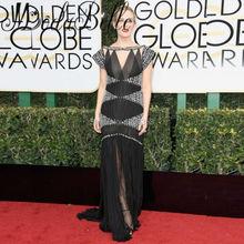 Red Carpet Celebrity Dresses 74th Golden Globe Award Beads Sliver Rhinestones Prom Dresses Luxury Black Formal Evening Gowns(China (Mainland))