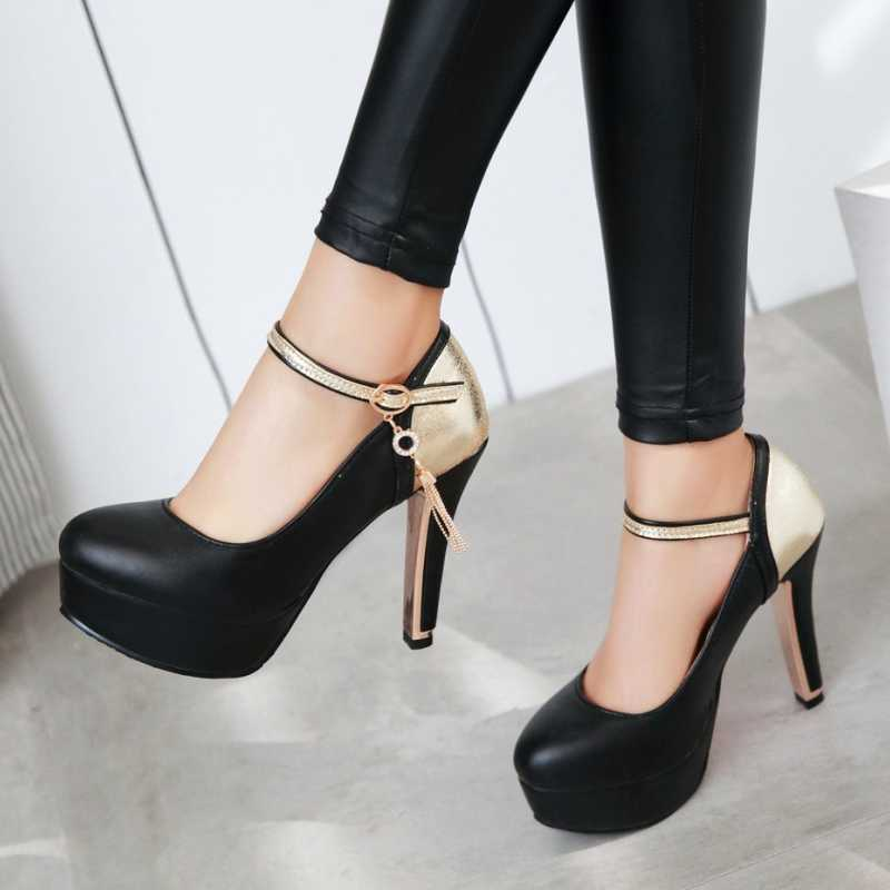 DoraTasia Size 34-39 Fashion Women Mary Jane Ankle Strap Pumps Sexy High Heels Platform Casual Metal Chains Shoes