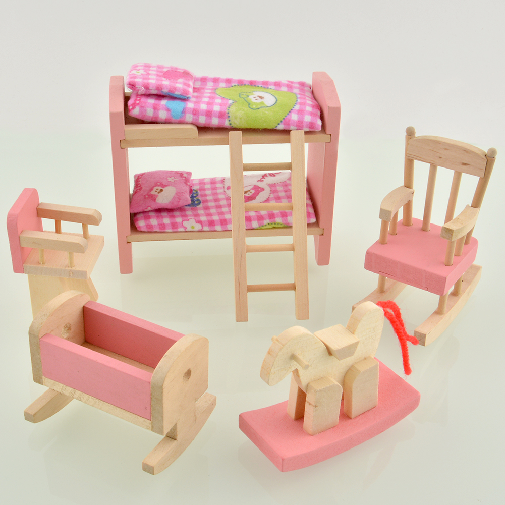 Delicate House Furniture Pink Wooden Toy Miniature Nursery Room Crib Chair Gift Free Shipping
