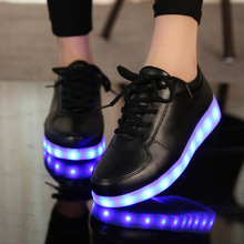 Криатив зарядка через USB светящиеся светодиодные кроссовки для мальчиков и девочек Повседневное дети света обувь детская 7 цветов светодио...(China)