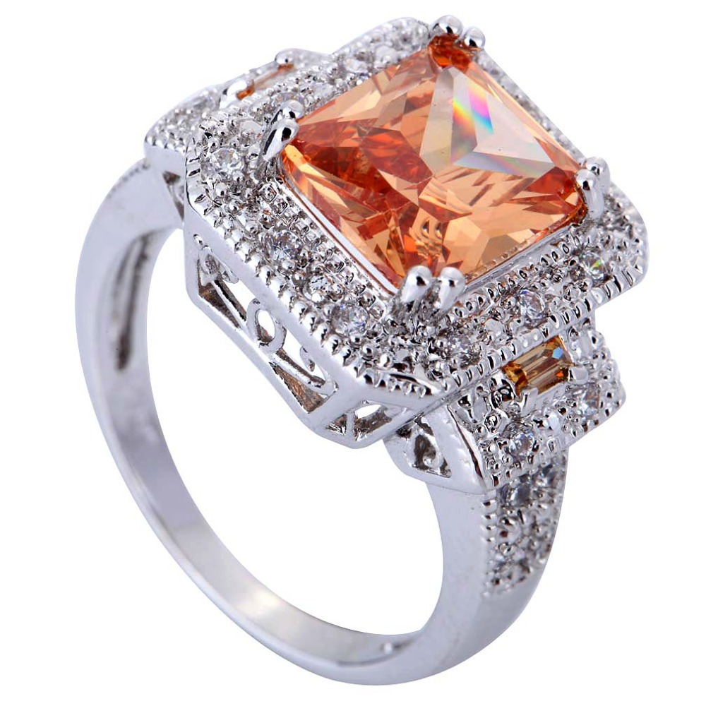 Emerald Cut Morganite & White Topaz Zircon Gems Silver Ring Size 8 Wholes