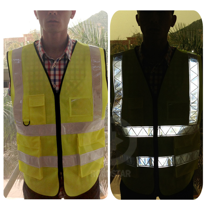 2016 горячая распродажа флуоресцентный желтый и оранжевый светоотражающий светоотражающий жилет для безопасности colths бесплатная доставка