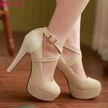 QUTAA Моды Платформы Женщин Насосы Сексуальные Туфли На Высоком Каблуке Тонкие Каблуки Круглые Обувь Пальца Ноги Платформы женщин Свадебная Обувь Размер 34-42(China (Mainland))