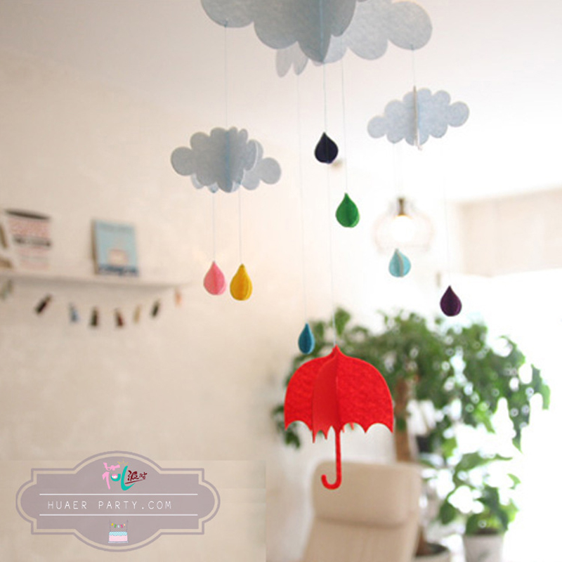 3D stereoscopic felt cloth umbrella clouds event party supplies Party Decoration(China (Mainland))