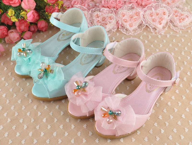 2015 children girls shoes princess shoes girls sandals kids high heels shoes toddler girl shoes pink, blue(China (Mainland))