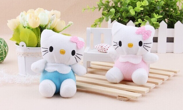 Super Kawaii Special Sale - 8CM 2Colors - Bowtie Hello Kitty Plush Stuffed TOY , Small Pendant Lanyard DOLL , BAG Key Chain TOY(China (Mainland))