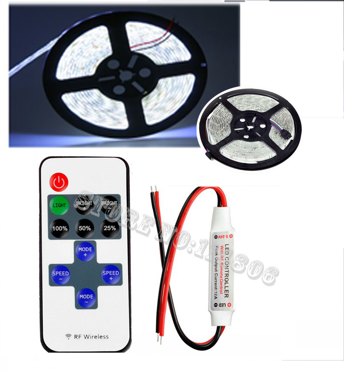 MINI 10Key Wireless Remote RF Dimmer +2835 Pure White Flexible LED Strip WaterProof Light 600 LEDs 5M/Roll