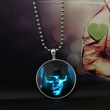 2015 Glowing Steampunk Fire Glow in the Dark Halloween Monster Pendants Necklaces Stainless Steel Chain For Women Men Jewelry