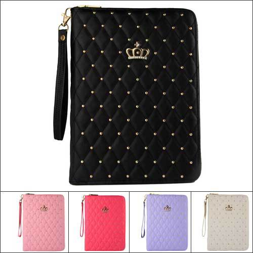 Diamond Crown Lambskin Leather Bag Case for iPad4 3 2 Strap Zipper Bag Multi-function Rotation Smart Cover for iPad2 iPad3 iPad4(China (Mainland))