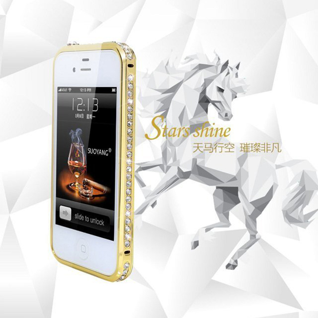 Bling Metal bumper for iphone 4 4s , for gold iphone 4s bumper , for iphone 4 s bumper rhinestone(China (Mainland))