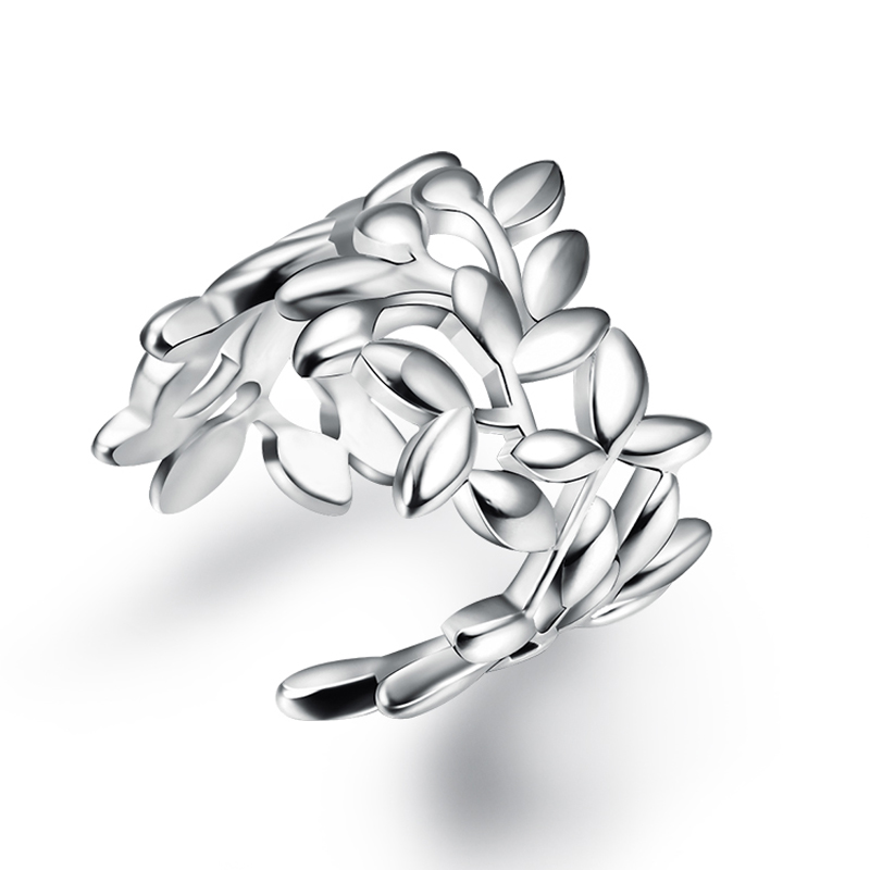 Elegant Design Leaves Sterling Silver Jewelry 925 Silver Ring For Girls Beautifu Promotion<br><br>Aliexpress