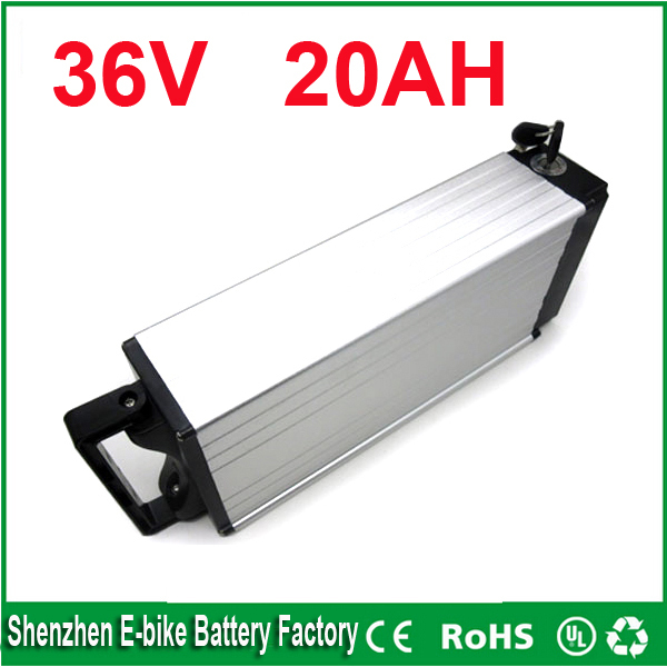 ebike 1000W lithium battery 36V 20AH Aluminium Case rear rack bike electric bicycle lithium battery with 30A BMS ,charger(China (Mainland))