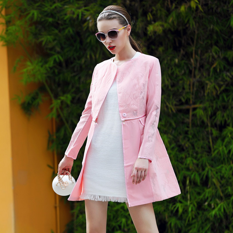 Lifestyle Women's New Fall 2015 casual coat fashion runway lace composite wear long trench women