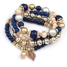 Fashion jewelry 2015 new brand bracelets & bangles for women set multilayers beads leaves pendant tassel bracelet 145(China (Mainland))