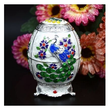 Russia imported color hand-painted toothpicks tin pail boxes tail peacock egg shaped craftwork gift bottle opener(China (Mainland))
