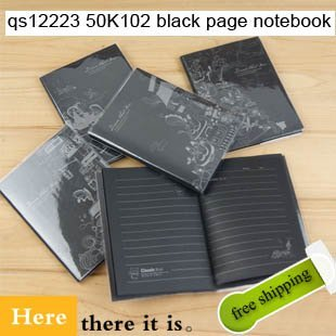 Free shipping Black Pages 50K Notebook Notepad Memo Pads Writing scratch for office school promotion gift 10pcs/lot here QS12223