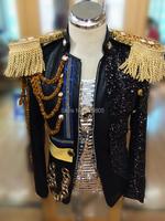 новые моды мужской ds костюм Делюкс Эполет цепи королевской тонкий пиджак красный костюм куртка стадии певица боди певица пальто