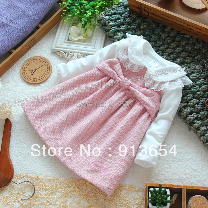 Free shipping new 2015 spring autumn girls clothes baby dress girl pink vest princess dress kids sleeveless all-match dresses(China (Mainland))