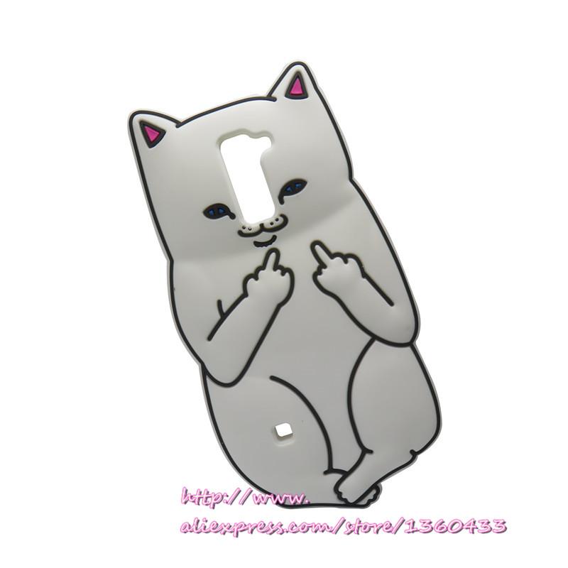 3D Cute White Cartoon Cat Phone Case Silicone Cover LG K7 K 7